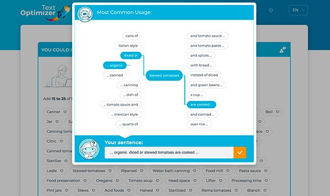 text optimizer création de phrase automatique et contexte