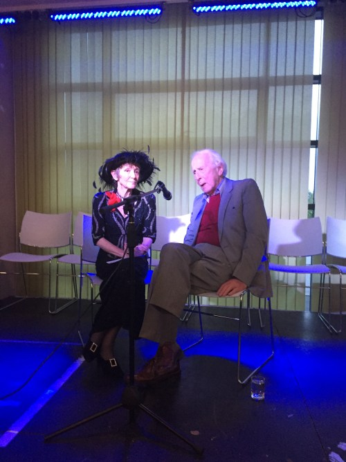 Jean Moorcroft Wilson and Cecil Woolf on stage at the 2016 Annual International Conference on Virginia Woolf at Leeds Trinity University.
