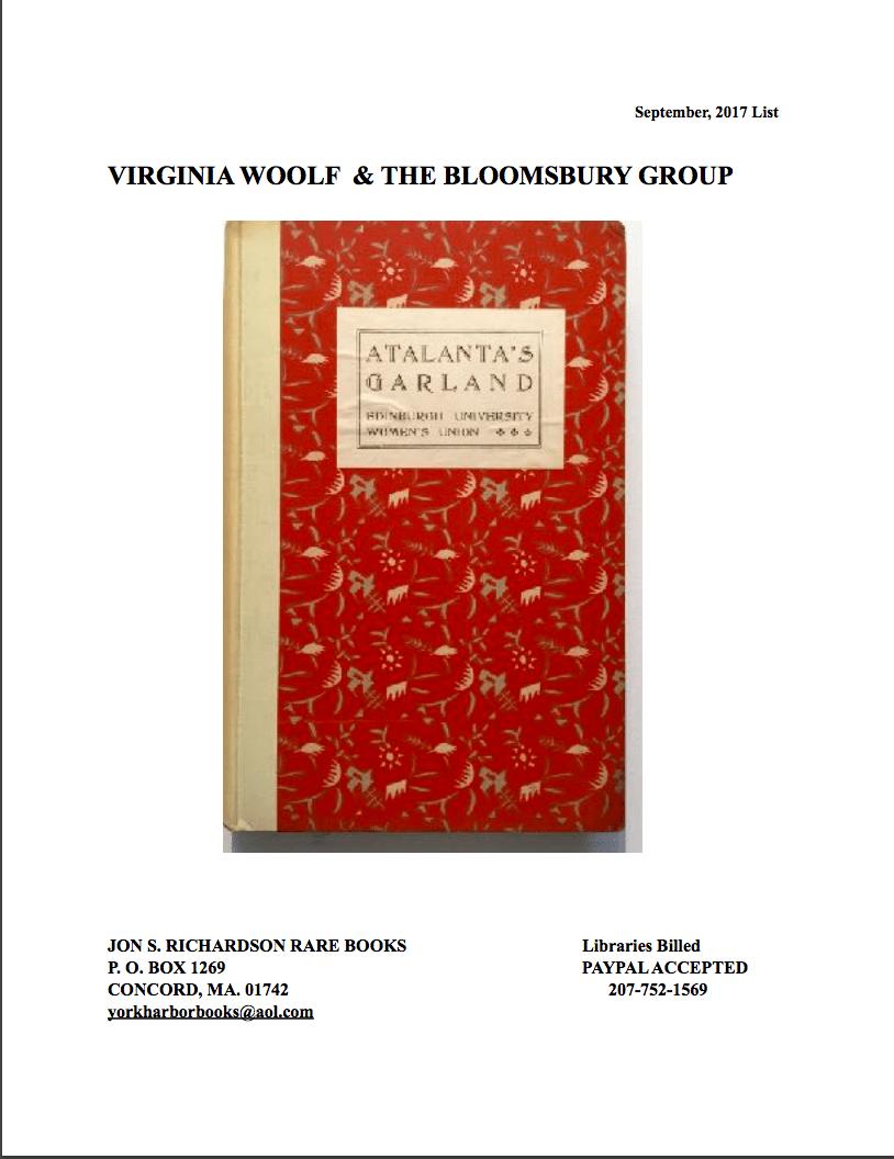 Jon S Richardson Rare Books Blogging Woolf