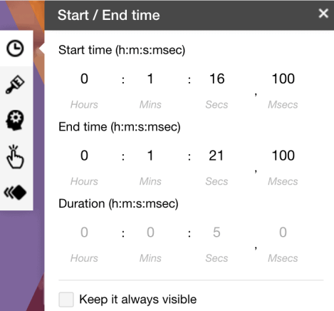Setting the interaction duration