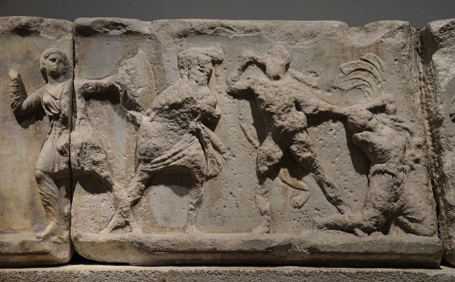 Slab from the Amazonomachy believed to show Herculeas grabbing the Hair of the Amazon Queen Hippolyta