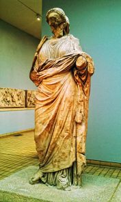 Statue usually identified as Artemisia; Reconstruction of the Amazonomachy can be seen in the left Background-The British Museum Room 21