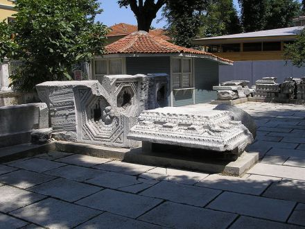 Images of the remains of the basilica that was constructed during the reign of emperor Theodosius II and stood from 415 C.E. - 532 C.E. Remains are exhibited next to the current Hagia Sophia.