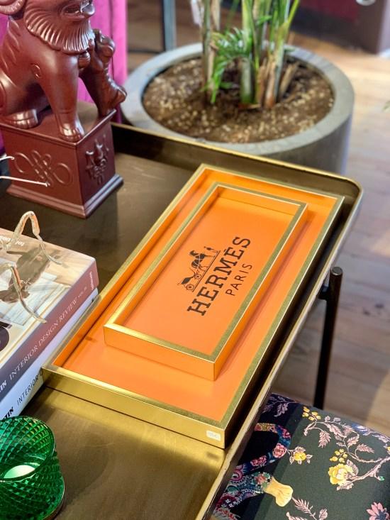 bandeja de Hermés, objetos de decoración,