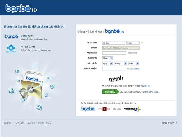banbe.net - Trang đăng ký thành viên