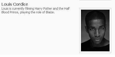 Louis Cordice interpretará a Blaisa Zabini en Harry Potter y el Príncipe Mestizo