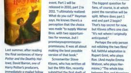 Steve Kloves Culmina Guión de 'Harry Potter y las Reliquias de la Muerte: Parte I'