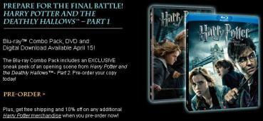 Inicia Pre-Venta Oficial del DVD/Blu-ray de 'Harry Potter y las Reliquias de la Muerte, Parte I'