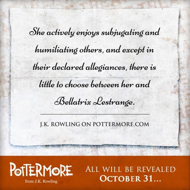 Harry Potter BlogHogwarts Dulce Pottermore Bellatrix Lestrange