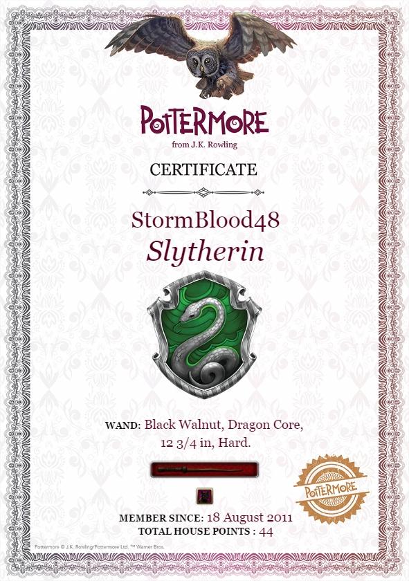 Harry Potter BlogHogwarts Certificado Pottermore