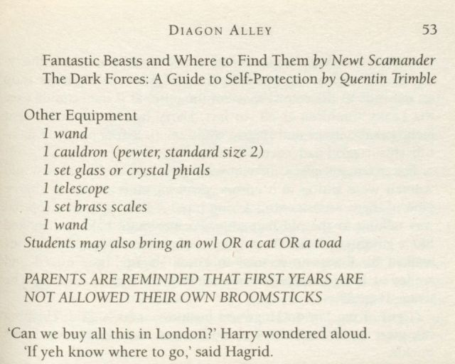 "Undated handout photo issued by Bonhams of a rare error printed within a first edition of Harry Potter and the Philosopher's stone, which is expected to fetch up to ¿20,000 when it goes on sale. PRESS ASSOCIATION Photo. Issue date: Wednesday August 10, 2016. The edition is one of only 500 hardback copies printed which contains the mistake on page 53 of the repetition of ""1 wand"" in Harry's list of school supplies for Hogwarts, which was removed in subsequent editions. See PA story SALE Potter. Photo credit should read: Oliver Williams/PA Wire NOTE TO EDITORS: This handout photo may only be used in for editorial reporting purposes for the contemporaneous illustration of events, things or the people in the image or facts mentioned in the caption. Reuse of the picture may require further permission from the copyright holder."