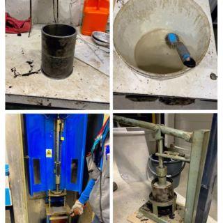Photo of making an asphalt sample.