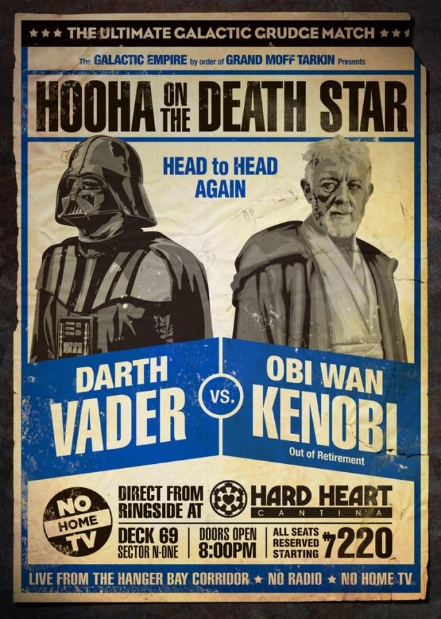 Cartazes retrô de batalhas épicas de Star Wars