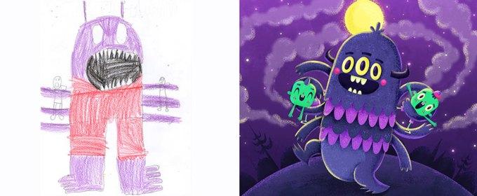Desenhos de monstros feitos por crianças são recriados por artistas