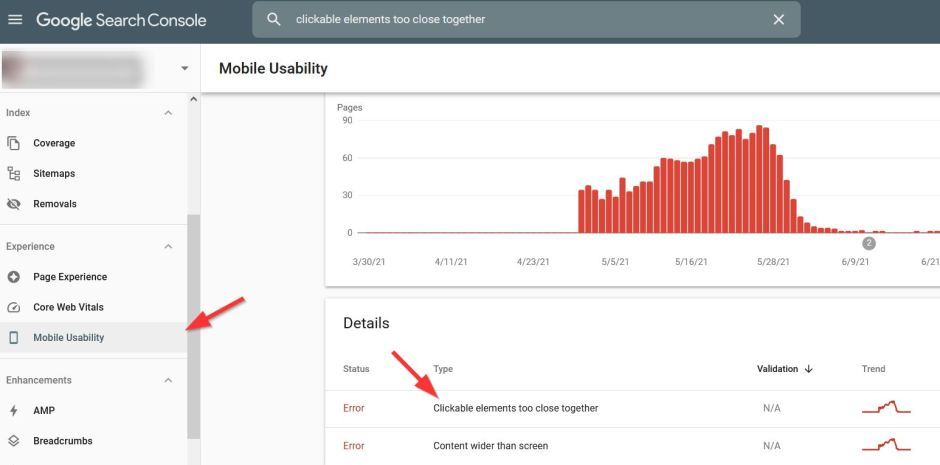 fixing clickable elements too close together error on google search console