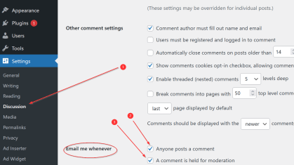 WordPress comments email notifications