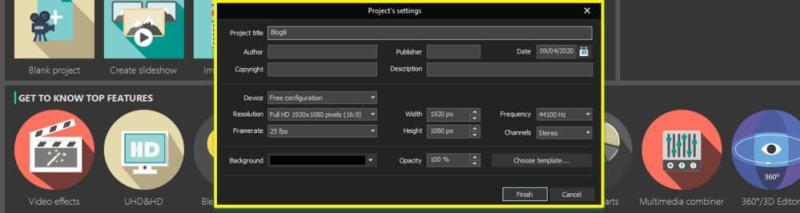 VSDC video setting
