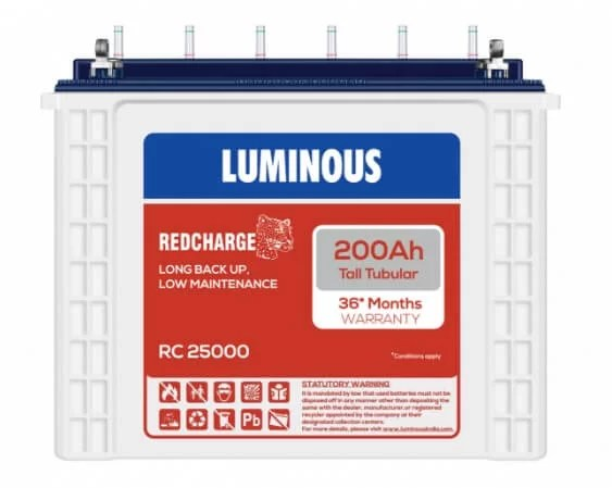 Luminous Tall Tubular RedCharge Battery 200 Ah - RC25000