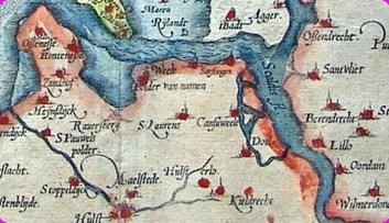 Afbeeldingsresultaat voor verdronken land van saeftinghe kaart middeleeuwen