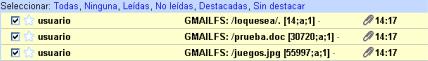 Archivos recibidos en GMail