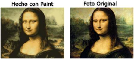 Mona Lisa pintada con Paint