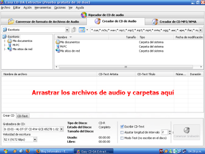 Easy CD-DA Extractor, creador de CDs de audio