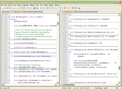 Notepad++, interfaz gráfica