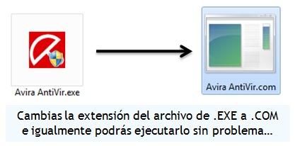 Cambiar la extensión del archivo ejecutable a COM