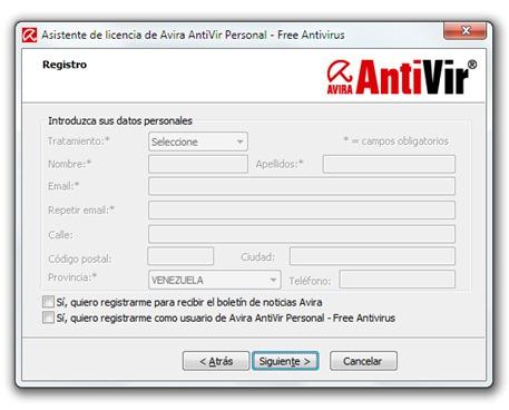 Avira AntiVir - Instalación - No registrarse en el sistema