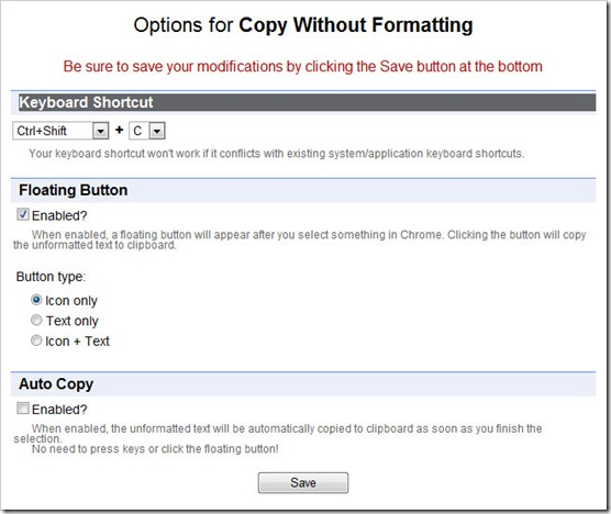 Copy Without Formatting