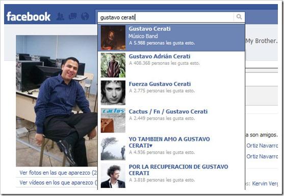 Facebook - Búsquedas organizadas por Me gusta