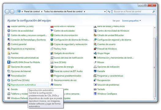 Reproducción automática en Windows 7