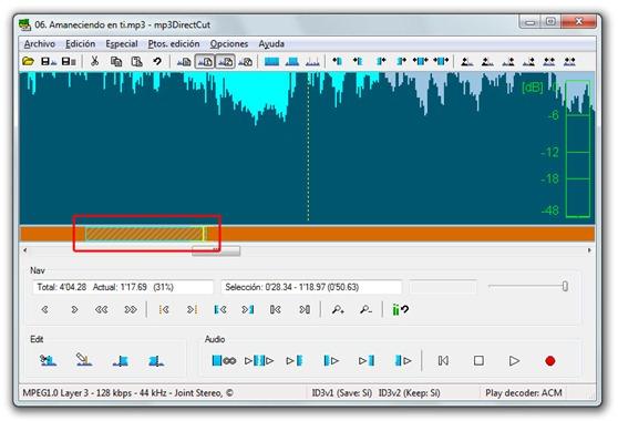 Recortar MP3 con mp3DirectCut