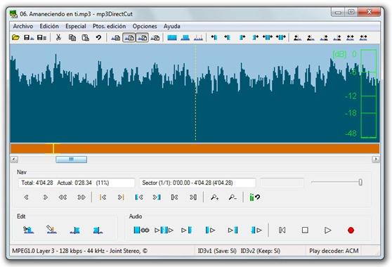 mp3DirectCut - Editando