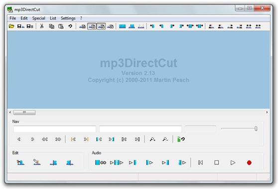 mp3DirectCut - Interfaz del software