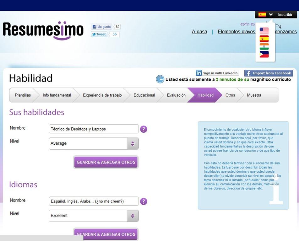 Resumesimo: Hacer currículum vitae gratis con este servicio web ...
