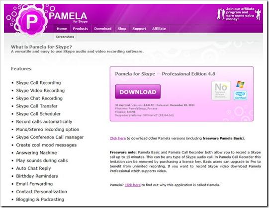 Pamela para Skype