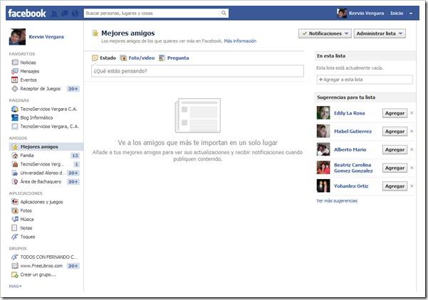Mejores amigos en Facebook