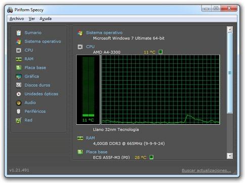 Temperatura del computadora - Speccy