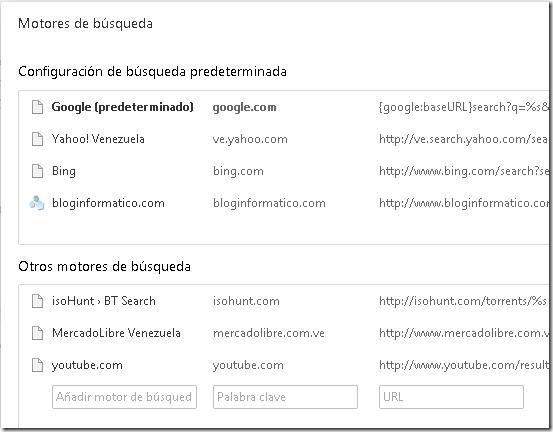 Motores de búsqueda.