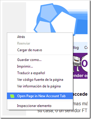 Open Page in New Account Tab