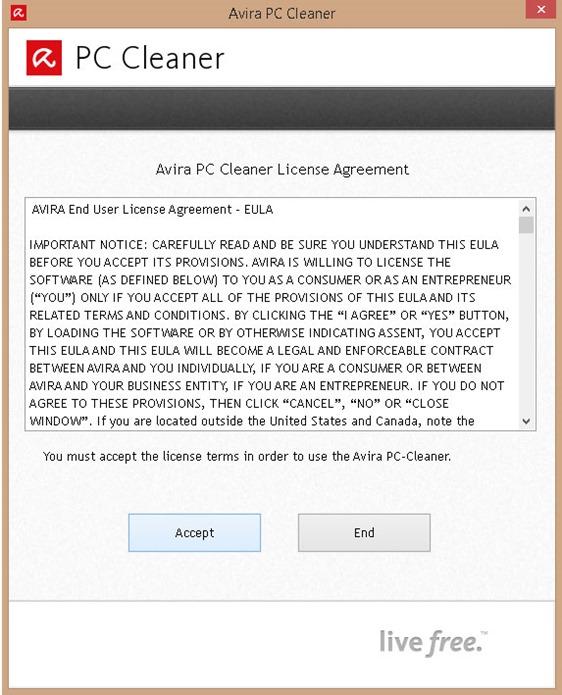 Avira PC Cleaner Contrato de licencia