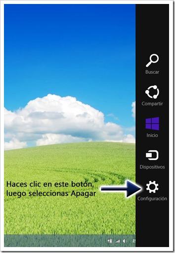 Menú para apagar Windows 8