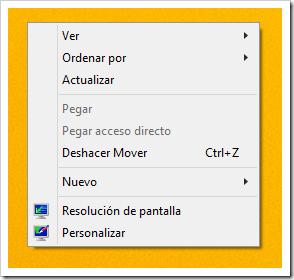 Menú contextual en Windows 8