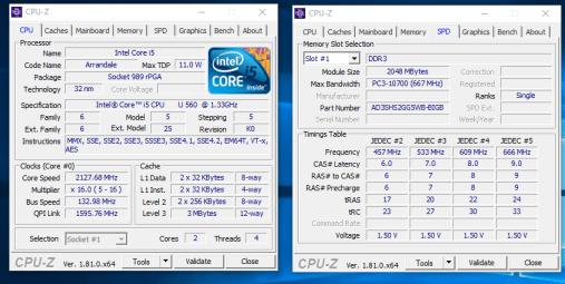 Durabook U12C - CPU Z