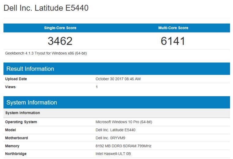 geekbench cpu test dell latitude e5440