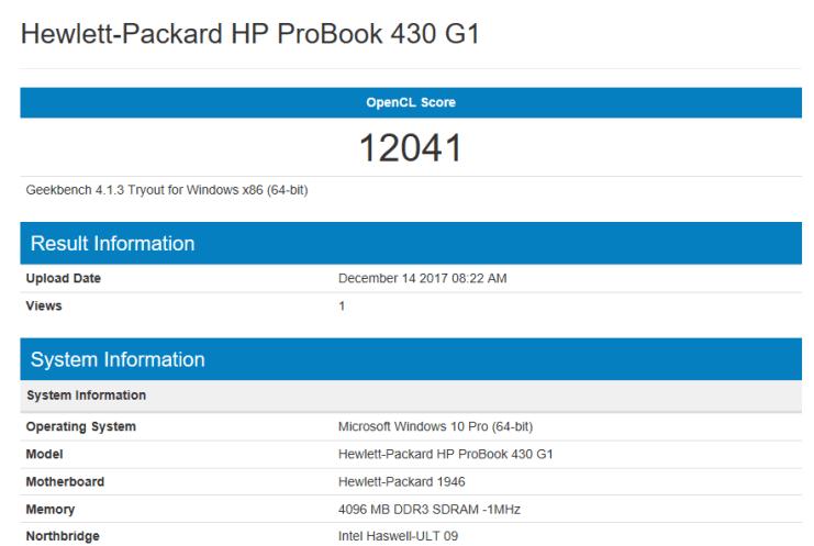 Probook 430 G1 - test geekbench