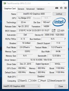 Dell Vostro 3460 - GPU-Z grafica integrata