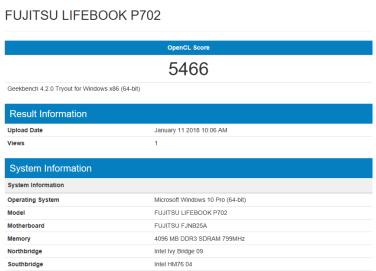 Fujitsu LIFEBOOK P702 - OpenCL