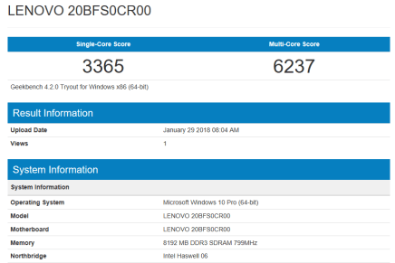 Lenovo ThinkPad T540 - GeekBench CPU